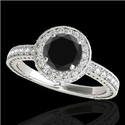 1.51 CTW Certified Vs Black Diamond Solitaire Halo Ring 10K White Gold - REF-74T8X - 34304