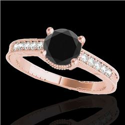 1.45 CTW Certified Vs Black Diamond Solitaire Antique Ring 10K Rose Gold - REF-52W8H - 34760