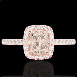 1.25 CTW Morganite & Micro Pave VS/SI Diamond Certified Halo Ring 10K Rose Gold - REF-40Y9N - 22907