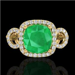 3.15 CTW Emerald & Micro VS/SI Diamond Certified Ring 18K Yellow Gold - REF-78N2Y - 23002