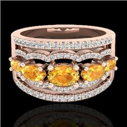 2.25 CTW Citrine & Micro Pave VS/SI Diamond Certified Designer Ring 10K Rose Gold - REF-71N8Y - 2079