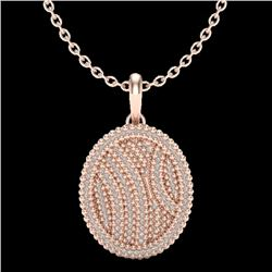 1 CTW Micro Pave VS/SI Diamond Certified Necklace 14K Rose Gold - REF-90F9M - 20508