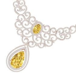 73.43 CTW Royalty Canary Citrine & VS Diamond Necklace 18K Rose Gold - REF-1527K3R - 39849