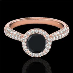 1.4 CTW Certified Vs Black Diamond Solitaire Halo Ring 10K Rose Gold - REF-63R5K - 33302