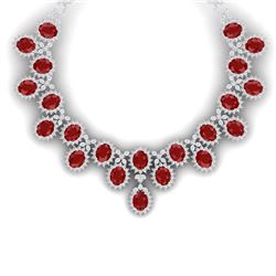 81 CTW Royalty Designer Ruby & VS Diamond Necklace 18K White Gold - REF-1618X2T - 38622