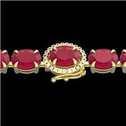 23.25 CTW Ruby & VS/SI Diamond Eternity Tennis Micro Halo Bracelet 14K Yellow Gold - REF-154Y5N - 40