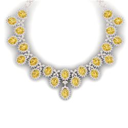 76 CTW Royalty Canary Citrine & VS Diamond Necklace 18K Rose Gold - REF-1381Y8N - 38635