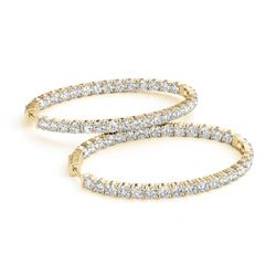 7 CTW Diamond VS/SI Certified 20 Mm Hoop Earrings 14K Yellow Gold - REF-824N8Y - 29112