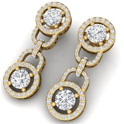 4 CTW Certified SI/I Diamond Halo Earrings 18K Yellow Gold - REF-271M4F - 40105