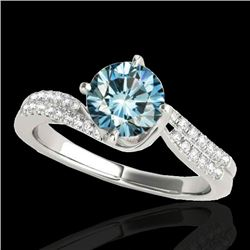 1.2 CTW SI Certified Fancy Blue Diamond Bypass Solitaire Ring 10K White Gold - REF-161H8W - 35111