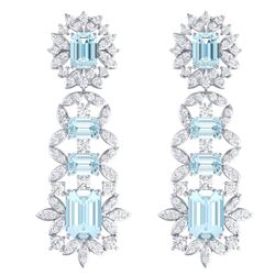 33.36 CTW Royalty Sky Topaz & VS Diamond Earrings 18K White Gold - REF-527K3R - 39414