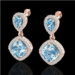 7 CTW Sky Blue Topaz & Micro VS/SI Diamond Certified Earrings Halo 10K Rose Gold - REF-74W9H - 20199