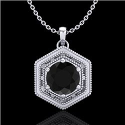 0.76 CTW Fancy Black Diamond Solitaire Art Deco Stud Necklace 18K White Gold - REF-47X3T - 37513