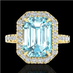 63 CTW Sky Blue Topaz & Micro Pave VS/SI Diamond Halo Ring 18K Yellow Gold - REF-61H8W - 21421