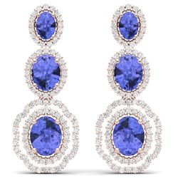 17.82 CTW Royalty Tanzanite & VS Diamond Earrings 18K Rose Gold - REF-418R2K - 39211