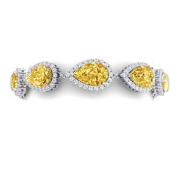 39.26 CTW Royalty Canary Citrine & VS Diamond Bracelet 18K White Gold - REF-418W2H - 38868