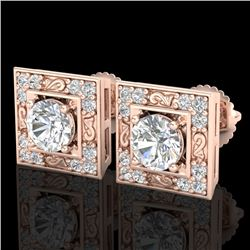 1.63 CTW VS/SI Diamond Solitaire Art Deco Stud Earrings 18K Rose Gold - REF-254W5H - 37269
