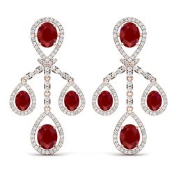25.08 CTW Royalty Designer Ruby & VS Diamond Earrings 18K Rose Gold - REF-490T9X - 38575