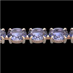 24 CTW Tanzanite Eternity Designer Inspired Tennis Bracelet 14K Rose Gold - REF-218X2T - 23396