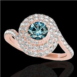 2.11 CTW SI Certified Fancy Blue Diamond Solitaire Halo Ring 10K Rose Gold - REF-240X9T - 34519