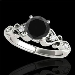 1.15 CTW Certified Vs Black Diamond Solitaire Antique Ring 10K White Gold - REF-52W2H - 34813
