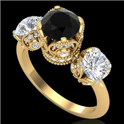 3 CTW Fancy Black Diamond Solitaire Art Deco 3 Stone Ring 18K Yellow Gold - REF-318X2T - 37431