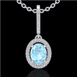 1.75 CTW Aquamarine & Micro VS/SI Diamond Necklace Halo 18K White Gold - REF-64K9R - 20650