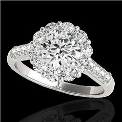 2.75 CTW H-SI/I Certified Diamond Solitaire Halo Ring 10K White Gold - REF-392M4F - 33427
