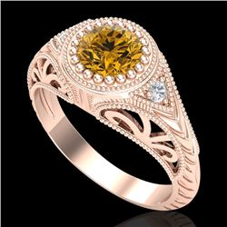 1.07 CTW Intense Fancy Yellow Diamond Engagement Art Deco Ring 18K Rose Gold - REF-200X2T - 37477