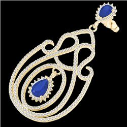 6.40 CTW Sapphire & Micro Pave VS/SI Diamond Certified Earrings 14K Yellow Gold - REF-303W5H - 22430