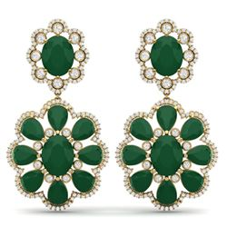 33.88 CTW Royalty Emerald & VS Diamond Earrings 18K Yellow Gold - REF-472Y8N - 39155