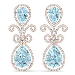 30.49 CTW Royalty Sky Topaz & VS Diamond Earrings 18K Rose Gold - REF-301T8X - 39550