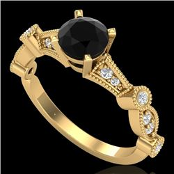 1.03 CTW Fancy Black Diamond Solitaire Engagement Art Deco Ring 18K Yellow Gold - REF-80M2F - 37676
