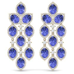 31.55 CTW Royalty Tanzanite & VS Diamond Earrings 18K Yellow Gold - REF-718K2R - 38933