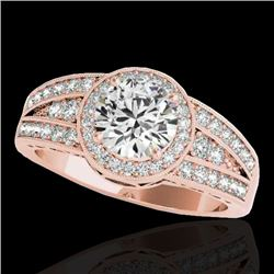 1.5 CTW H-SI/I Certified Diamond Solitaire Halo Ring 10K Rose Gold - REF-180N2Y - 34070