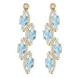 15.72 CTW Royalty Sky Topaz & VS Diamond Earrings 18K Yellow Gold - REF-240W9H - 38990