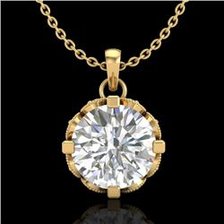 1.5 CTW VS/SI Diamond Solitaire Art Deco Stud Necklace 18K Yellow Gold - REF-363M5F - 36847