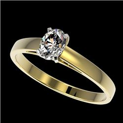 0.50 CTW Certified VS/SI Quality Oval Diamond Engagement Ring 10K Yellow Gold - REF-77R6K - 32964