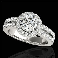 1.5 CTW H-SI/I Certified Diamond Solitaire Halo Ring 10K White Gold - REF-180F2M - 33989