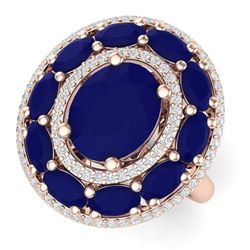 8.05 CTW Royalty Designer Sapphire & VS Diamond Ring 18K Rose Gold - REF-143H6W - 39244