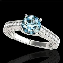 1.32 CTW SI Certified Fancy Blue Diamond Solitaire Ring 10K White Gold - REF-154R4K - 34948