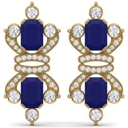 27.36 CTW Royalty Sapphire & VS Diamond Earrings 18K Yellow Gold - REF-600R2K - 38768