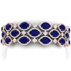 52.84 CTW Royalty Sapphire & VS Diamond Bracelet 18K Rose Gold - REF-1145R5K - 38893