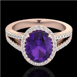 3 CTW Amethyst & Micro VS/SI Diamond Halo Solitaire Ring 14K Rose Gold - REF-58K2R - 20926