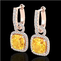 7 CTW Citrine & Micro Pave VS/SI Diamond Certified Earrings 14K Rose Gold - REF-92F2M - 22959