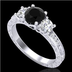 1.41 CTW Fancy Black Diamond Solitaire Art Deco 3 Stone Ring 18K White Gold - REF-138W2H - 37758
