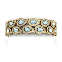 21.12 CTW Royalty Sky Topaz & VS Diamond Bracelet 18K Yellow Gold - REF-763F6M - 39491