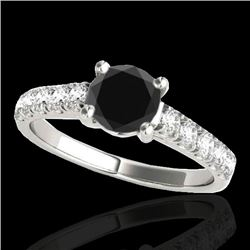 1.55 CTW Certified Vs Black Diamond Solitaire Ring 10K White Gold - REF-58R4K - 35492