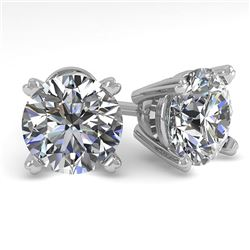 2.53 CTW Certified VS/SI Diamond Stud Earrings 18K White Gold - REF-684R5K - 32313