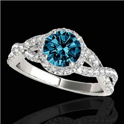 1.54 CTW SI Certified Fancy Blue Diamond Solitaire Halo Ring 10K White Gold - REF-170R4K - 33792